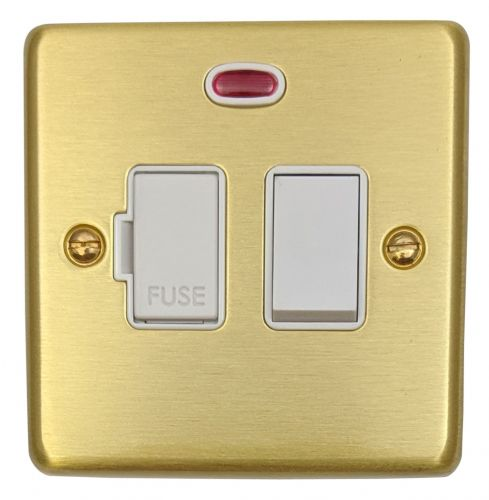 G&H CSB27W Standard Plate Satin Brushed Brass 1 Gang Fused Spur 13A Switched & Neon